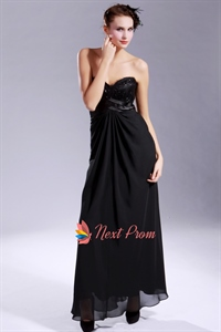 Black Empire Waist Evening Gown, Black Chiffon Empire Waist Beaded Prom Gown