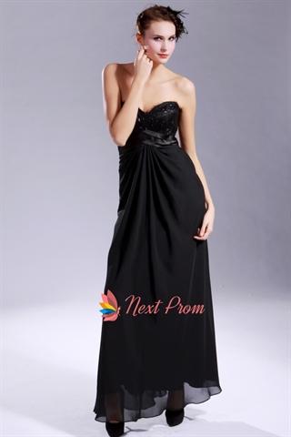 Black Empire Waist Evening Gown Black Chiffon Empire