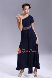 One Short Sleeve Prom Dresses, Navy Blue Chiffon Prom Dress