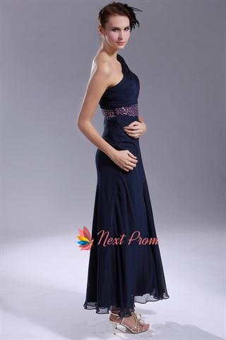 One Short Sleeve Prom Dresses Navy Blue Chiffon Prom