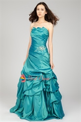 Strapless Beaded Taffeta Prom Dress With Pickup Skirt, Teal Prom Dress