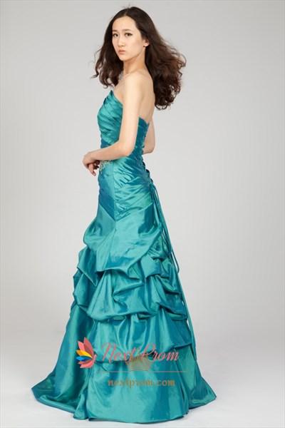 Strapless Beaded Taffeta Prom Dress With Pickup Skirt, Teal Prom Dress