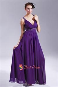 Long Purple Chiffon Evening Dress, V Neck Open Back Prom Dress