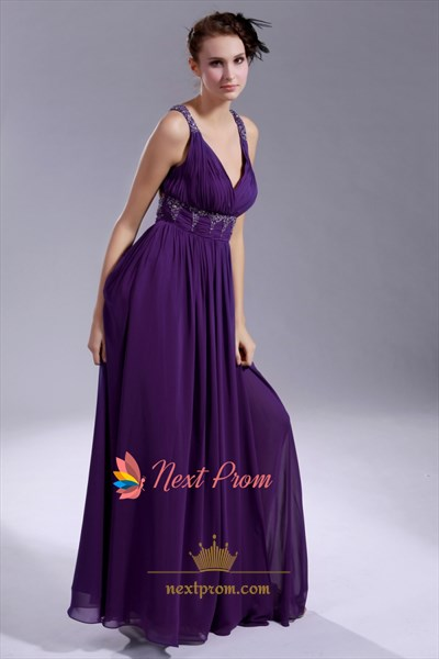 Long Purple Chiffon Evening Dress, V Neck Open Back Prom Dress
