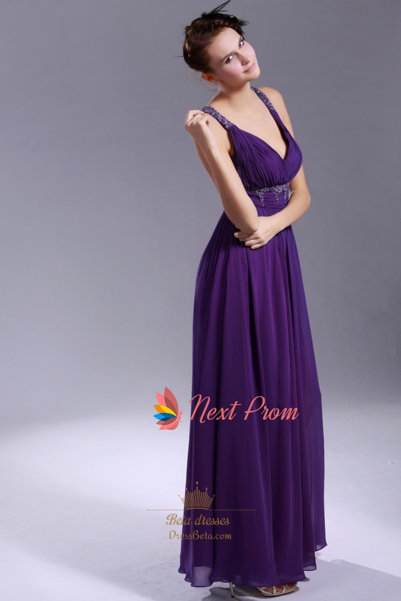 V Neck Purple Dress