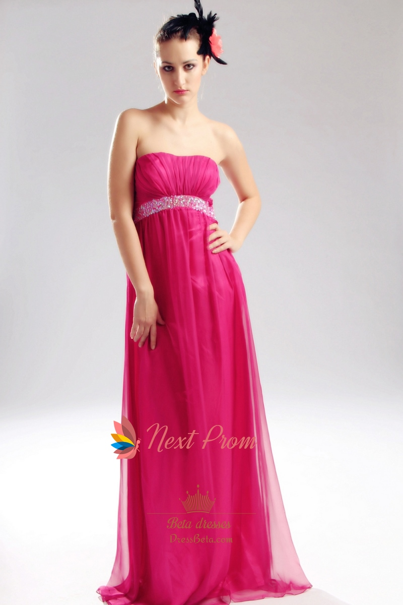 Hot Pink Strapless Prom Dress, Empire Waist Chiffon Evening Gowns