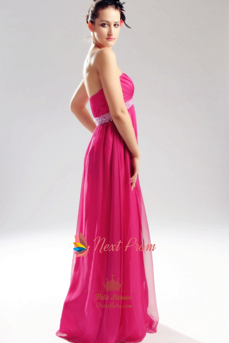 Hot Pink Strapless Prom Dress Empire Waist Chiffon