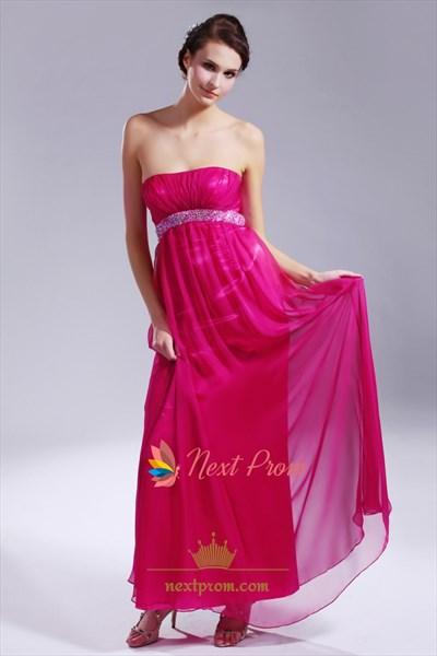 Hot Pink Strapless Prom Dress, Empire Waist Chiffon Evening Gowns