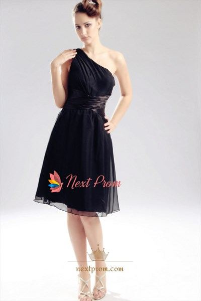 Chiffon One Shoulder Cocktail Dress, Knee Length Black Cocktail Dress