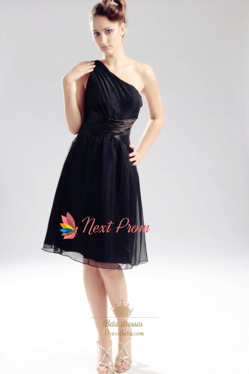 Chiffon One Shoulder Cocktail Dress, Knee Length Black Cocktail ...
