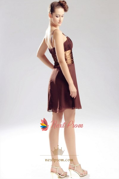 Brown Chiffon Cocktail Dress, Short Chiffon Junior Bridesmaid Dresses