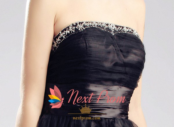 Strapless Little Black Cocktail Dress,Strapless Short Tulle Prom Dress