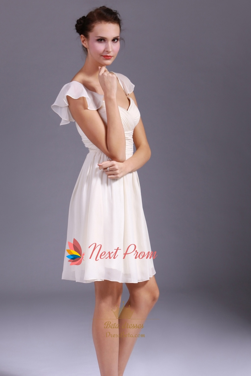 Chiffon Short Bridesmaid Dresses Ruched Chiffon