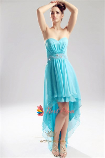 Aqua Blue High Low Dress, Chiffon Strapless Sweetheart Prom Dress