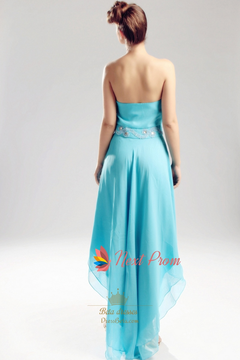 Aqua Blue High Low Dress Chiffon Strapless Sweetheart
