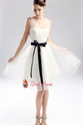 Ivory Wedding Dress With Black Sash, Short Ivory Graduation Dress