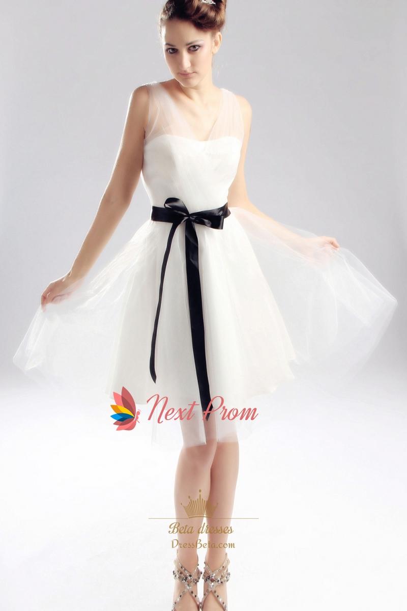 Ivory Wedding Dress With Black Sash Short Ivory