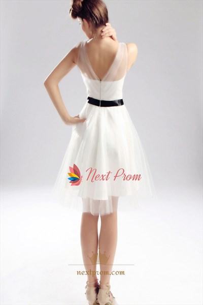 Ivory Wedding Dress With Black Sash, Short Ivory Graduation Dress