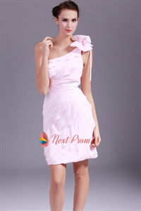 Light Pink One Shoulder Short Prom Dress,Ruffle Chiffon Cocktail Dress