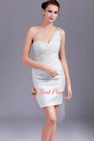Gray One Shoulder Prom Dress, Beaded One Shoulder Short Prom Dress