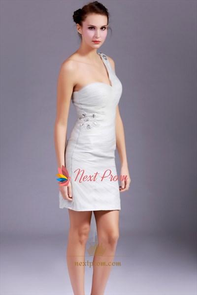 Gray One Shoulder Prom Dress, Beaded One Shoulder Short Prom Dress