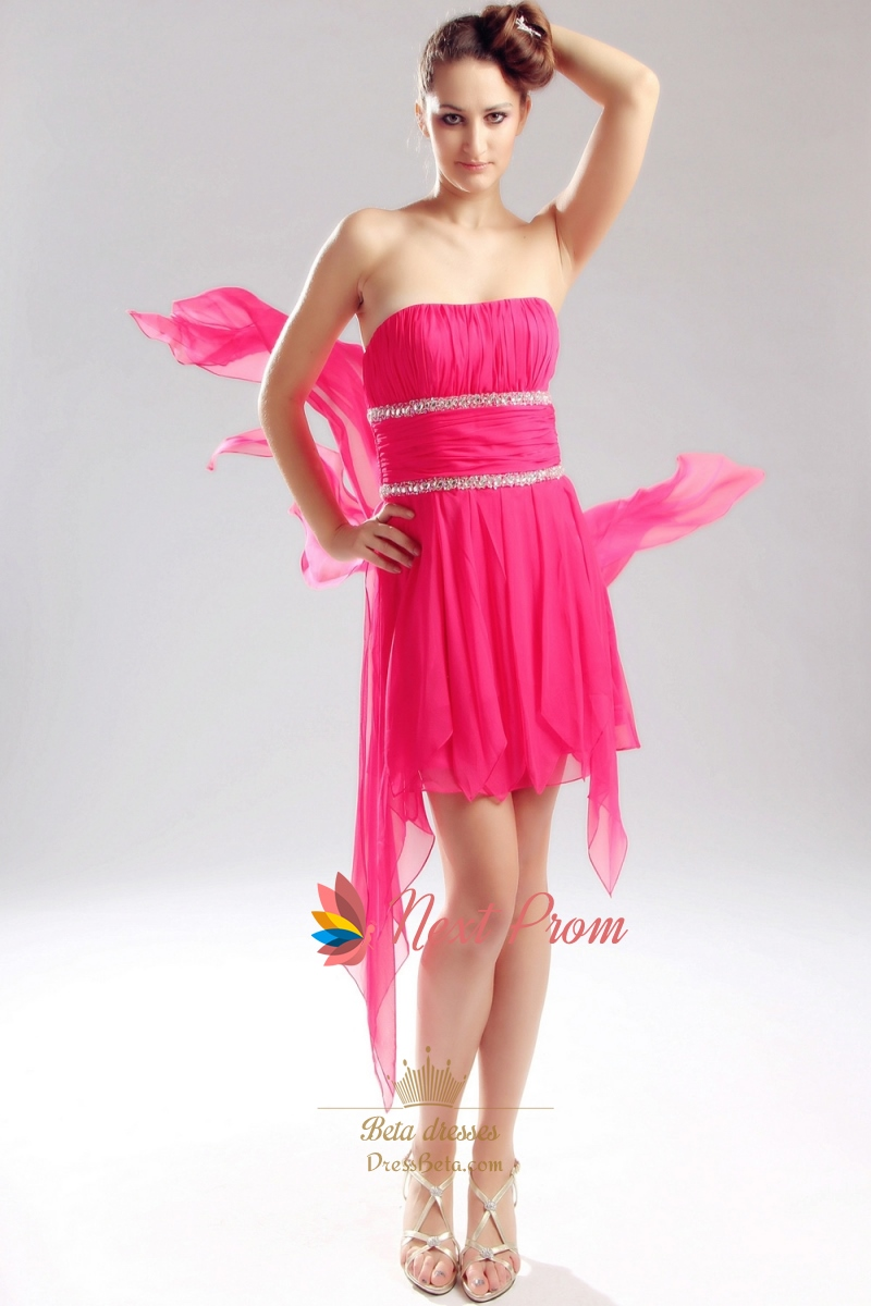 Hot Pink High Low Prom Dresses, Strapless Chiffon High Low Dress ...