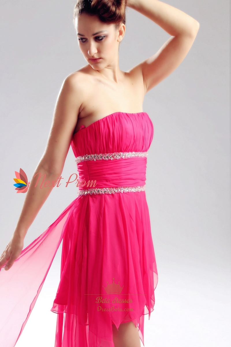 Hot Pink High Low Prom Dresses Strapless Chiffon High Low Dress Strapless Ruffled High Low ...