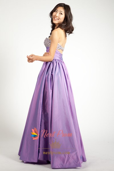 Purple Strapless Sweetheart Ball Gown, Purple Beaded Strapless Prom Dress