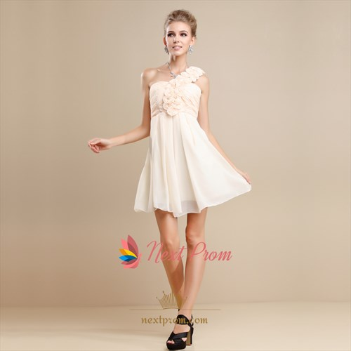 One-Shoulder Chiffon Dress With Floral Detail, Chiffon Cocktail Dress