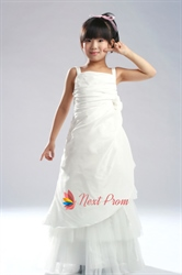 Taffeta Flower Girl Dresses Ivory, Ruched Bodice Flower Girl Dress