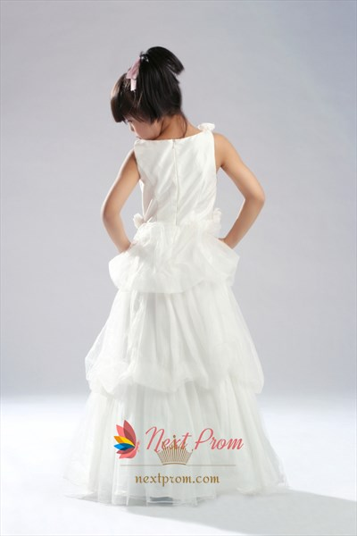 Unique Taffeta Three Tiered Flower Girl Dress With Floral Skirt