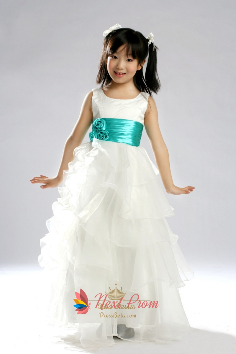 a2bc49b6d Tiered Organza Flower Girl Dress, White Flower Girl Dress With Teal Sash  SKU -NW196