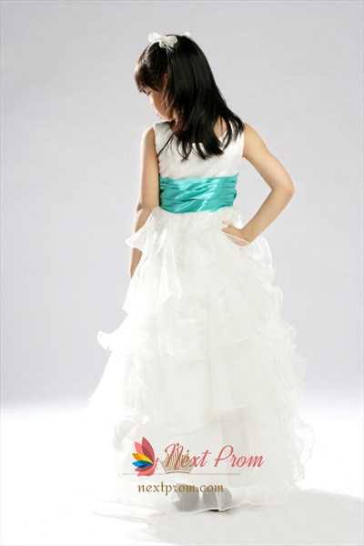 Tiered Organza Flower Girl Dress, White Flower Girl Dress With Teal Sash