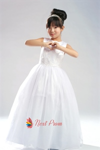 Ball Gown Scoop Satin Tulle Flower Girl Dress, White Flower Girl Dress
