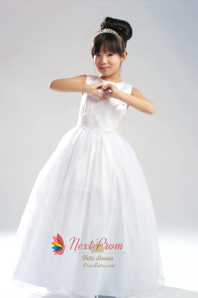 709c0cb63c Ball Gown Scoop Satin Tulle Flower Girl Dress