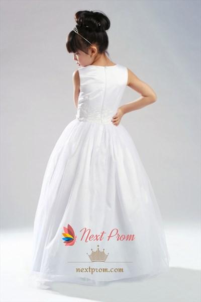 Ball Gown Scoop Satin Tulle Flower Girl Dress, White Flower Girl Dress