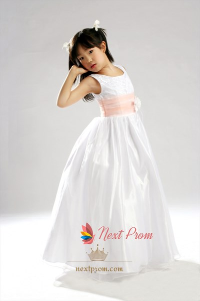 White A-Line Scoop Floor-Length Lace And Organza Flower Girl Dresses