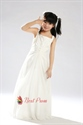 A-Line Ivory Square Floor Length Satin Chiffon Flower Girl Dress