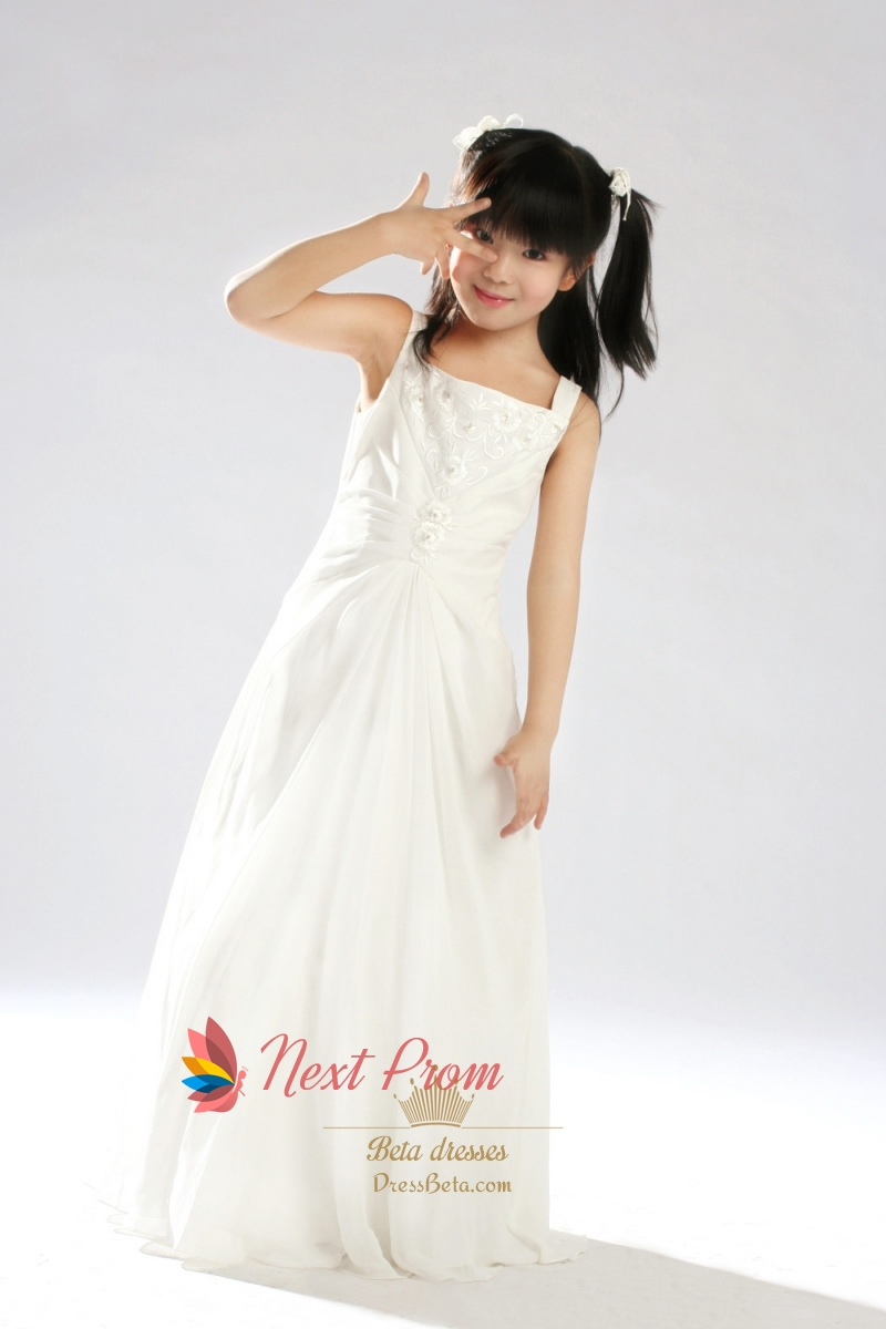 57b35fe7de7 A-Line Ivory Square Floor Length Satin Chiffon Flower Girl Dress