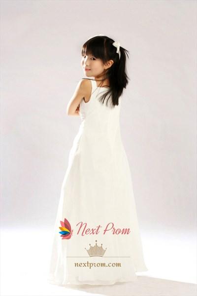A-Line Ivory Square Floor Length Satin Chiffon Flower Girl Dress