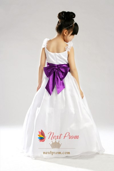 Ball Gown Scoop Neck Organza And Satin Flower Girl Dress With Bow