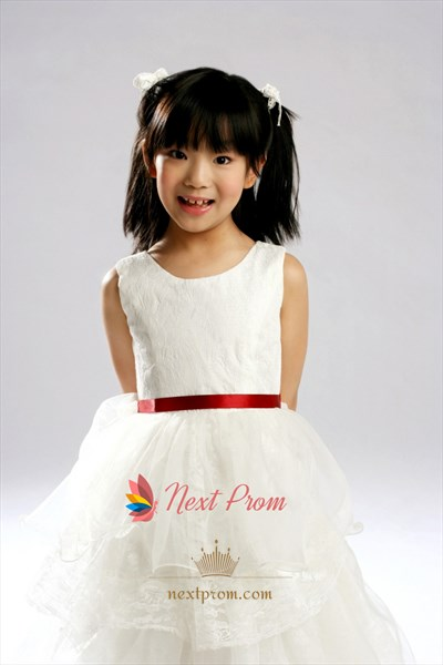 Ball Gown Jewel Layered Floor-Length Tulle Lace Flower Girl Dress