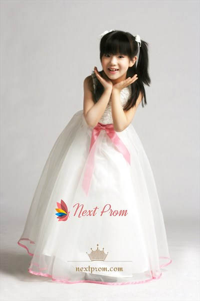 A-Line Jewel Organza Satin Flower Girl Dress With Sash And Flowers