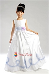 A-Line Jewel Floor-Length Taffeta Flower Girl Dress With Flower