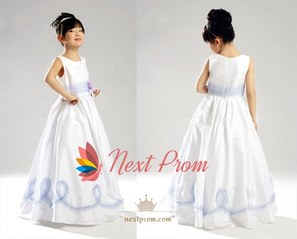 A-Line Jewel Floor-Length Taffeta Flower Girl Dress With Flower