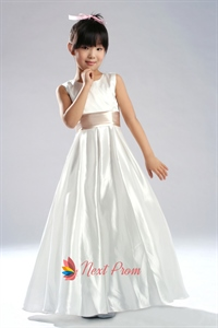 A-Line Jewel Taffeta Flower Girl Dress With Ribbon And Lace Up