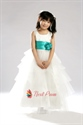A-Line Princess Scoop Tulle Tiered Flower Girl Dress With Flowers