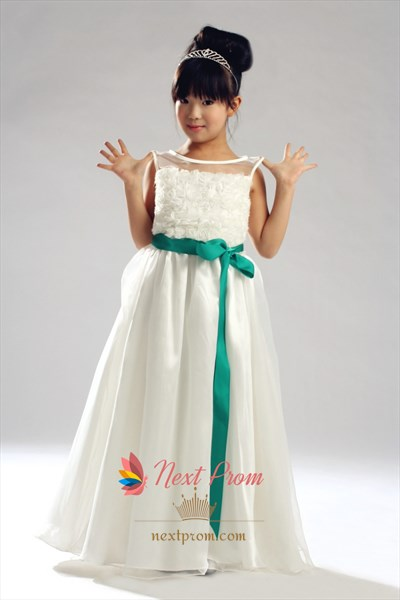 Jewel Organza Over Satin Flower Girl Dress With Sash And Flowers