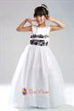 Sleeveless Organza Wedding/Evening Flower Girl Dress With Black Lace