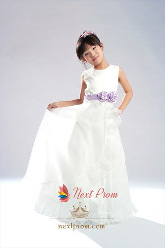 A-Line Scoop Floor-Length Organza Satin Flower Girl Dress With Flower